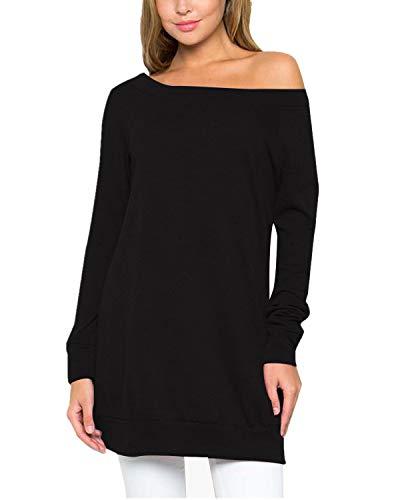 Langarm-plus Size Pullover (ACHIOOWA Damen Jumper Shirt Dress Herbst Langarm Plus Size Pullover Sweater Sweatshirt Tops Schwarz995545 XL)
