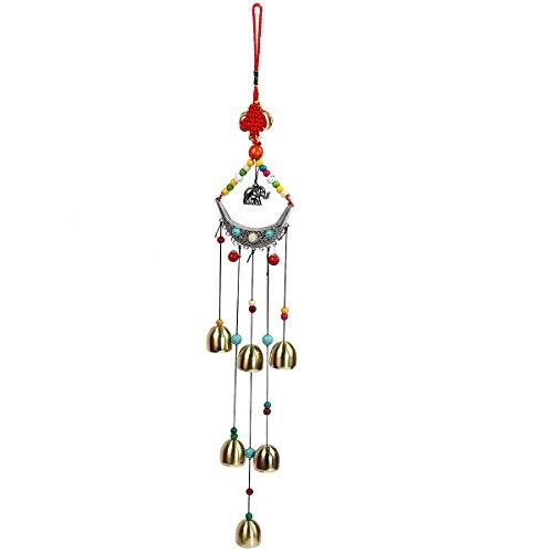 Campanas de viento tibetanas de Evilandat con 8campanas y nudo chino, decoración amuleto para el exterior, el jardín y el patio, 47 cm, As shown in the picture