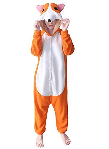 dressfan Tier Jumpsuit Corgi Erwachsene Pyjamas Unisex Polar Fleece Cosplay Kostüm