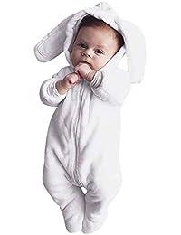 Mitlfuny Invierno Otoño Monos para Bebé Niño Niña de Manga Larga de Orejas de Conejo con Capucha Mameluco Recién Infantil Saco de Dormir de Ropa de Franela1-12 Meses