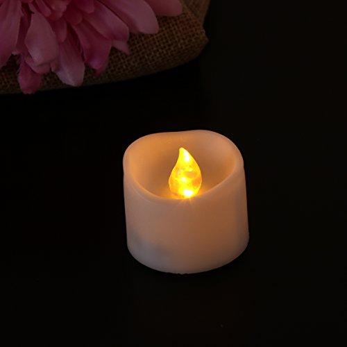 LEDMOMO Lámparas de té LED, realistas y brillantes accionados con batería bordeado velas sin plásticos de plástico blanco cálido para la celebración del festival de cumpleaños, paquete de 12