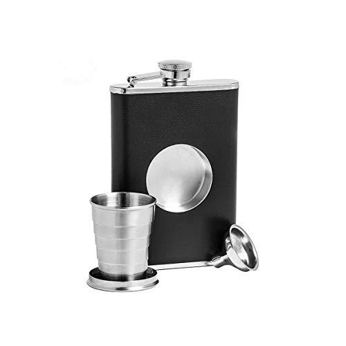 CHUJIAN 304 Edelstahl-Teleskopbecher, Outdoor tragbar, 8 Unzen Flasche, faltbares Weinglas, Weinset, Geschenk (Color : Black) -