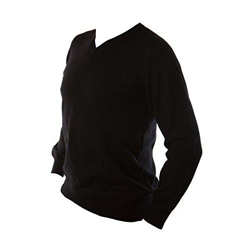 Edinburgh laine mérinos Men's Pullover à col en V Uni Noir - Noir