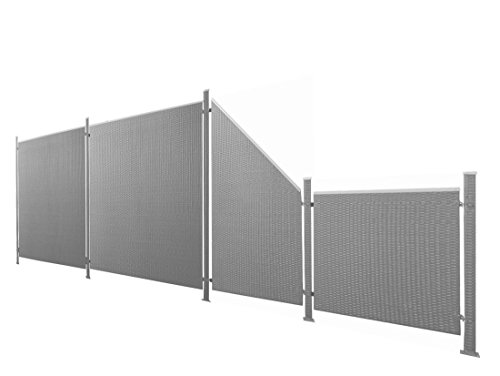 Poly-Rattan Sichtschutz / Zaun-Set 9-teilig anthrazit ca. 580cm Prime Tech