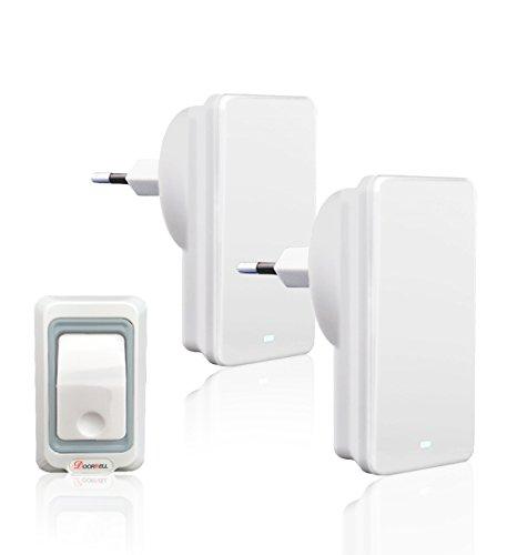 Wireless Türklingel Tragbarer Stecker Wasserdichter Funk Bell für Garten Villa Ältestenra Kit 2 Empfänger 1 Sender mit 300m Reichweite, 4 Stufen Lautstärke und LED Dispaly Weiß ()