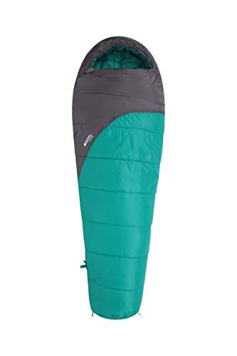 Mountain Warehouse Saco de Dormir Summit 250-22 x 40 cm - Saco de Acampada Tipo Momia Verde Agua Cremallera Diestro - Longitud Regular (200cm)