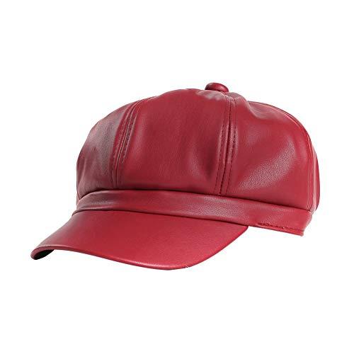Zeitungsjunge Cabbie Cap Baskenmütze Visier Baker Boy Hüte für Frauen PU Leder