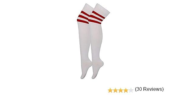 da donna Calze alte adatte allo sport o per costumi di carnevale Calze sopra il ginocchio con strisce da arbitro 118