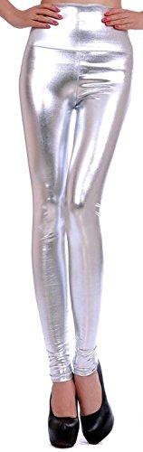 Krautwear Damen Mädchen Hose Stretch Glanz Leggings Jeggings mit Hohem Bund Leder Look Schwarz Silbern Braun Leo Fashion (Mädchen Und Schwarz Stiefel Super Silber)