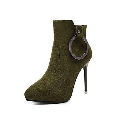 Rtry Femmes Chaussures Flocking Similicuir Automne Hiver Doux Doublure Bottes De Mode Bottes De Combatte Talon Stiletto Toe Bottes / Bottillons Us7.5 / Eu38 / Uk5.5 / Cn38