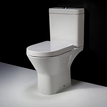 circular toilet seat uk. RIMLESS RAK Compact D Shape Mini Close Coupled Toilet WC Soft Seat  Full Access Open Back Amazon co uk Kitchen Home
