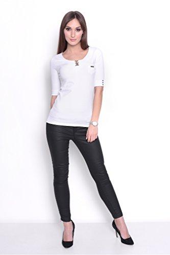 Shirt mit Brusttasche in 2 Farben Sportlich & elegant Gr. 36 38 S M, 2586 Weiß