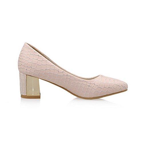 AllhqFashion Damen Kariert Weiches Material Mittler Absatz Ziehen Auf Pumps Schuhe Pink