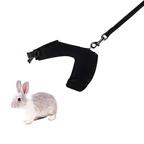 Bello Luna Harnais Hamster avec Laisse Harnais Respirant pour Lapins cobayes - Noir/M