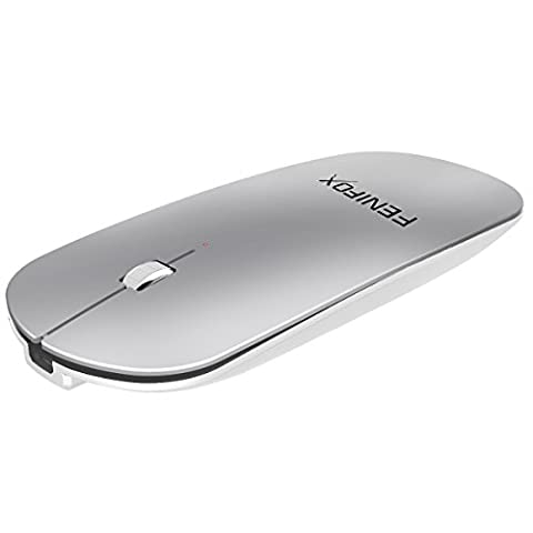 Mini souris Bluetooth FENIFOX, ultra fine, portable, avec batterie rechargeable pour PC, Mac, ordinateur portable, tablette Android argenté/blanc