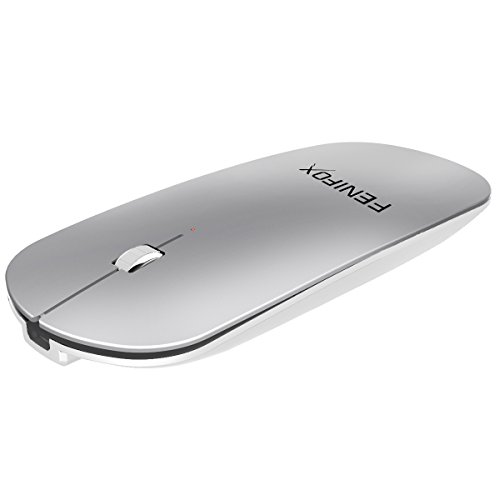 Fenifox Ratón Bluetooth,Inalámbrico Mini Mouse Ergonómico Ultrafina Portátil Recargable Para Mac,Ordenador Portátil,Macbook,Portátil Portátil,Tableta,Android PC(Plata)