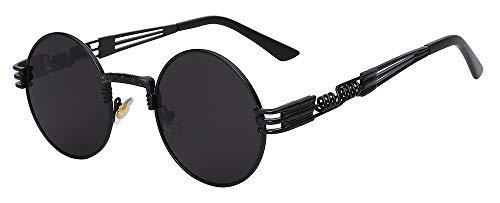 Macxy - Gothic Steampunk Sonnenbrille Männer Frauen Metall WrapEyeglasses Round Shades Sonnenbrillen Spiegel [Schwarz-W schwarz]