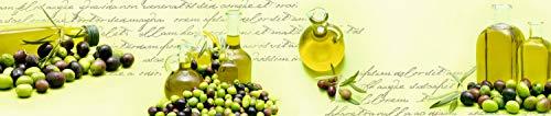 wandmotiv24 Küchenrückwand Oliven Öl Schrift Grün Flasche Glas Nischenrückwand Spritzschutz Design M1157 240 x 50cm (B x H) - Acrylglas 4mm Rückwand Küche Fotorückwand Küchenbild Bild Foto Motiv Herd