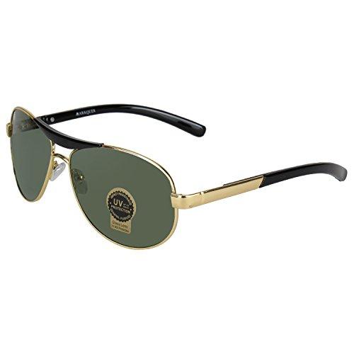 MarkQues Cruise 100% UV Protected Unisex Aviator Sunglasses (Golden) (CS-550814)