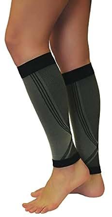 1 PAAR Grau/Schwarz Kompressions Stulpen für Damen & Herren, Calf Sleeves Run Warmer Sport Laufen Strümpfe (S (Körpergröße 158-170 cm))