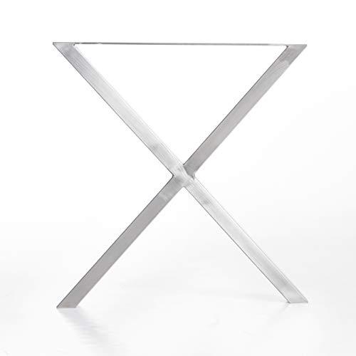 Tischgestell X-Form modern I 80 x 40 mm Profil I hochwertiger Edelstahl gebürstet I 72 cm hoch I Indoor & Outdoor I Untergestell für Ess-, Schreib-, Gartentisch etc. I 1 Stück