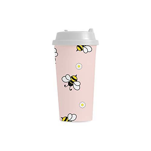 Biene fleißige doppelte Flügel Insekten Gewohnheit 16 Unze doppelwandiger Plastikisolierkunst Sport Wasser Flaschen Becher Pendler Reise Kaffeetassen für Studenten Frauen Milch Teetasse Getränk (Flügel Antenne Und Biene)