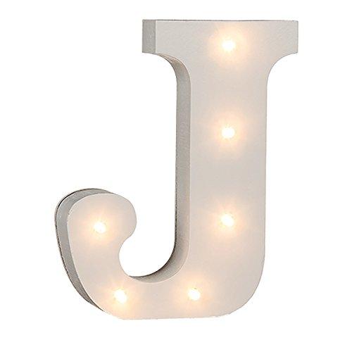 schenken-24 Beleuchtete Buchstaben (A - Z) mit LED-Birnchen, weiß, ca. 16 cm Höhe, Buchstaben:J