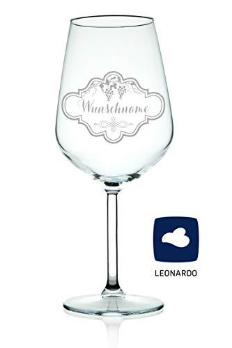Leonardo XL Weinglas mit Gravur eines Namen - schönes Geschenk zum Geburtstag & für echte Weingenießer - Füllmenge: 460ml - Hochwertige Laser-Gravur