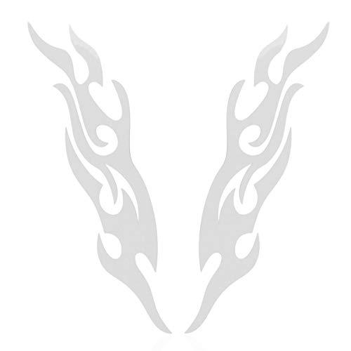 Gugutogo 2 Einheit Flammen Aufkleber Car Styling Portseite der LKW-Stoßstange Autofenster Lap Top Zubehör Cut Vinyl Aufkleber (schwarz und Silber) - Modernen-wand-einheit