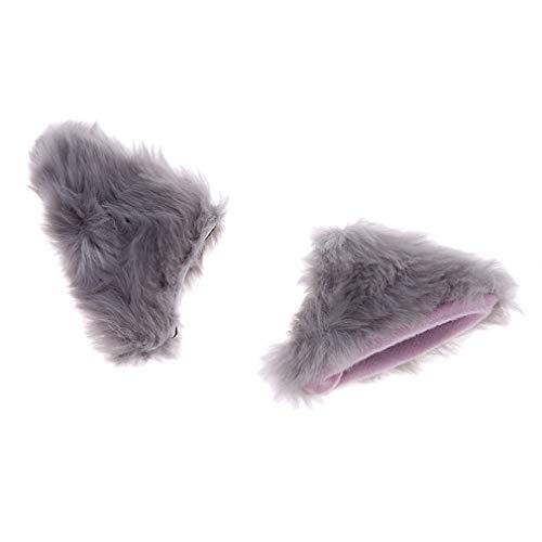 L_shop Katzenohren Haarspange Headwear Cute Anime Cosplay Halloween Kostüm Stirnbänder, graues (Wolf Katze Kostüm)