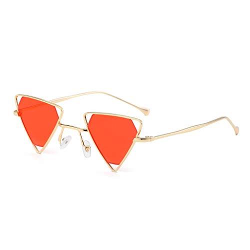 ZHAO YELONG Sonnenbrille Mode Dreieck Metallrahmen Herren Damenbrille (Color : Orange)
