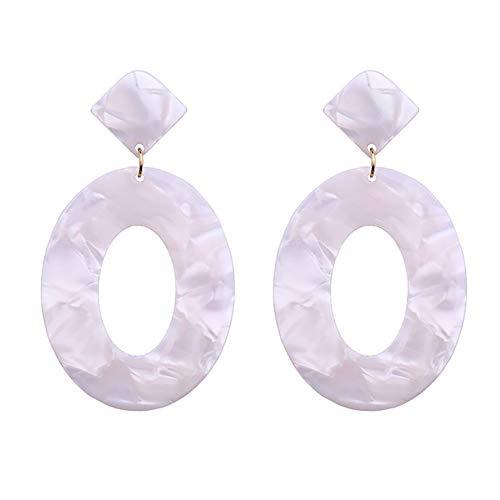 Qinlee Leopard Ohrringe für Damen mit Runde Design Anhänger Frauen Mode Vintage Bohemian Lange Quaste Ohrringe Kreis Schmuck Anhänger Dekoration für Frau-Weiß