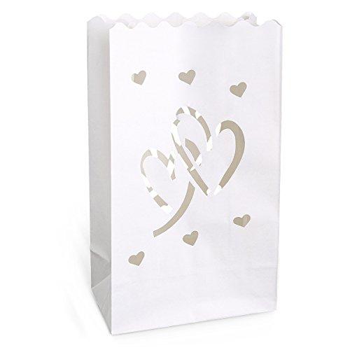20 St. Doppelherz Motive Kerzentüte Lichttüte Luminarias Candlebag Laterne Garten Windlicht Gartenlicht Tischdeko Hochzeit Deko