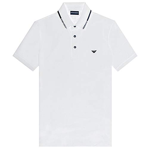 Armani Emporio Logo Kragen Pique Polohemd - Weiß, XL
