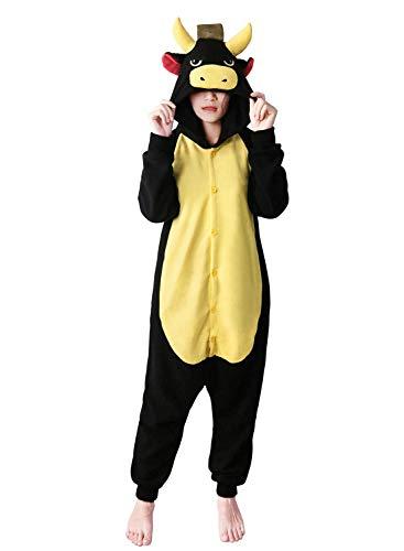 dressfan Animal Combinaison Vache Noir Adulte Pyjama Unisexe Polaire vêtements de rôle