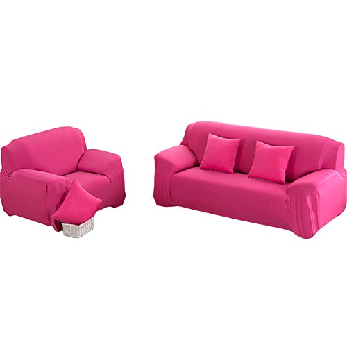 NAttnJf Mode Solid Color Rutschfeste Stretch Sofa Cover Schutzhülle Möbelschutz Rose Rot Single (Rote Rose Single)