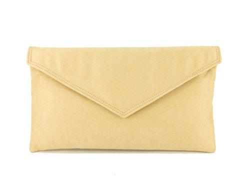 Loni Neat Umschlag Faux Wildleder Clutch Bag/Schultertasche in schwarz Magnolia Beige