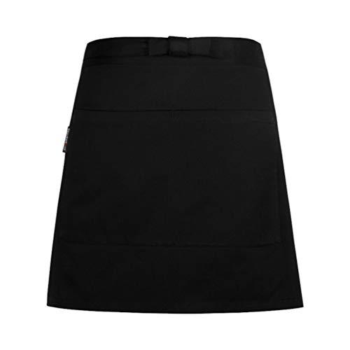 Dexinx Unisex Kurze Taille Schürze mit Zwei Großzügigen Taschen Restaurant Server Chef Kellnerin Kellner halbe Schürzen Schwarz Einheitsgröße