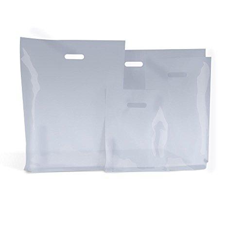 100klar Kunststoff Tragetaschen 25,4x 40,6cm + 10,2cm durchsichtige Kunststoff Einkaufstaschen wiederverwendbar Markt Traders Fashion Trägern