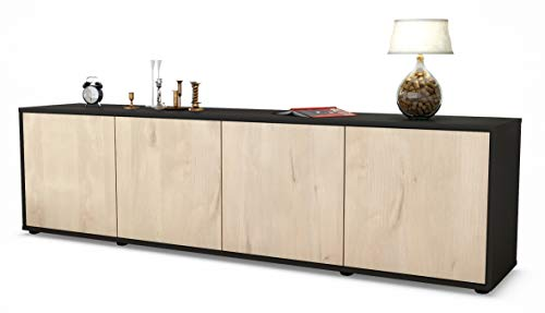 Stil.Zeit TV Schrank Lowboard Antonia, Korpus in Anthrazit Matt/Front im Holz-Design Zeder (180x49x35cm), mit Push-to-Open Technik, Made in Germany