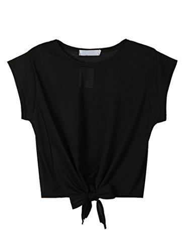 Choies Damen Shirt mit Masche Einfarbig Kurzarm Bauchfrei Basic Sport Bluse Cool Crop Shirts Schwarz XL (Cap Sleeve Crop)