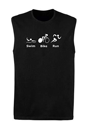 T-Shirt Mann armellos Schwarz FUN3642 Swim Bike Run Poster