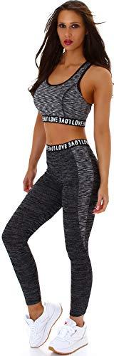 StyleLightOne Damen Fitness Set Sport Zweiteiler Freizeit Zweifarbig Stretch High-Waist Crop-Top Leggings Racerback, One Size 36 S, Schwarz