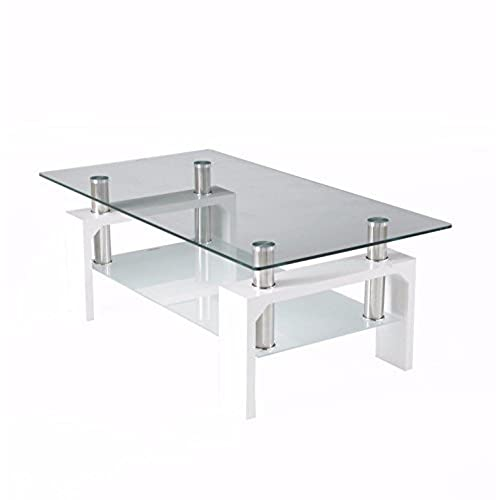 Neotechs® Modern White Rectangle Clear Glass U0026 Chrome Living Room Coffee  Table With Lower Shelf