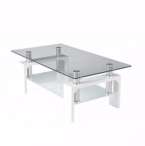 Neotechs® Moderne Blanc Rectangle en Verre Transparent et chromé Table basse de salon avec étagère inférieure