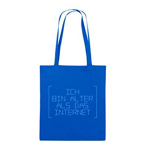 Borse Da Commedia - Sono Più Vecchio Di Internet - Retro - Borsa Di Juta - Manico Lungo - 38x42cm - Colore: Nero / Argento Blu Royal / Blu