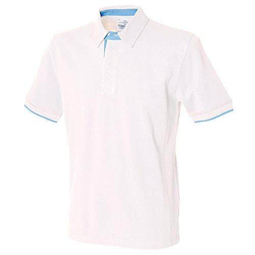 Front Row Contrast pique polo shirt White/ Sky Blue