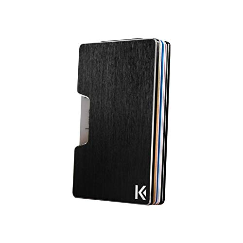 KARCAJ® Classic - Cartera Tarjetero Minimalista con Protección Antirrobo RFID y NFC. Tarjetero Metálico para Tarjetas de Crédito y Billetes para Hombre y Mujer (Black Edition)