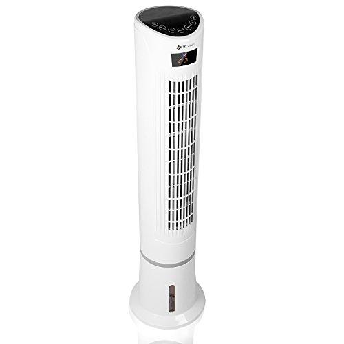 TECVANCE Ventilatore a Torre con Telecomando, 3 Livelli di Potenza, Raffreddamento, Umidificatore, Ionizzatore, Display LC, Oscillazione 80°, 55 Watt, Bianco