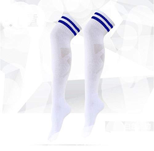 Abbay Socken, Männlich Und Weiblich, Erwachsene Kinder, Fußballsocken, Über Dem Knie, Rutschfeste Strümpfe @ White Socken Blue Strip_38-47 Yards Dicken Erwachsenen